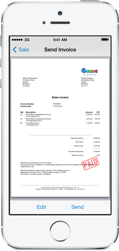 Alto Invoicing Software for iPhone, iPad and iPad Pro