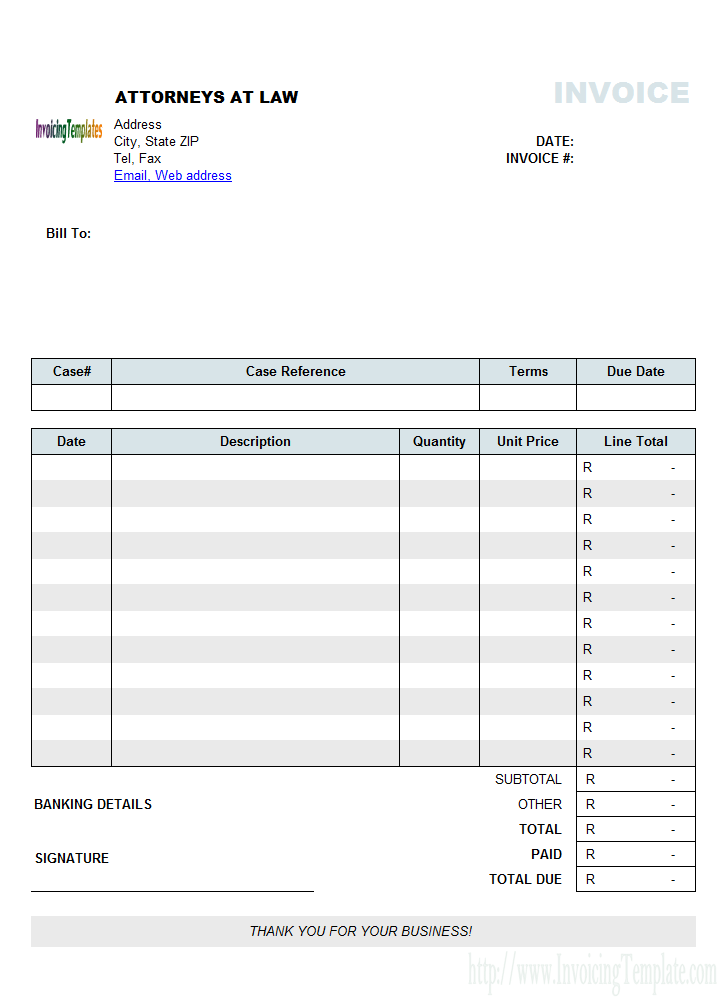 Attorney Invoice Template (South Africa Currency)