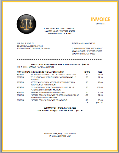 Sample Law Firm Invoice Serjiom Journal
