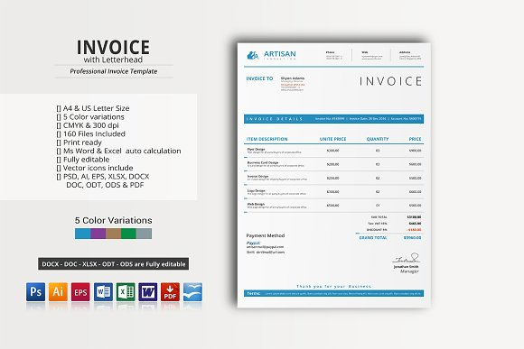 Invoice with Letterhead ~ Stationery Templates ~ Creative Market