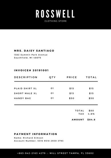 Black and White Invoice Templates by Canva
