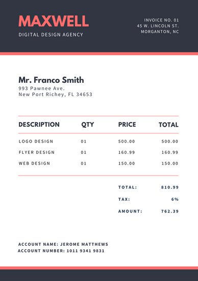 Red and Navy Invoice Templates by Canva