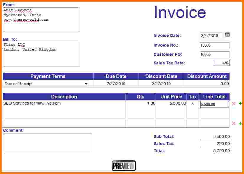 Make An Invoice In Excel 5 How To Make An Invoice In Excel Receipt