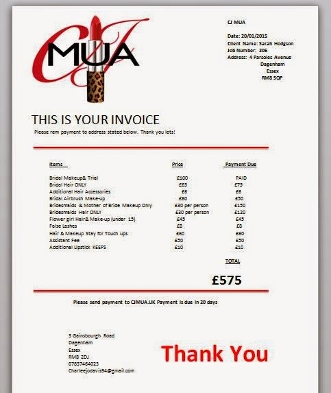 Makeup Artist Invoice Sample Makeup Artist Invoice Template Free