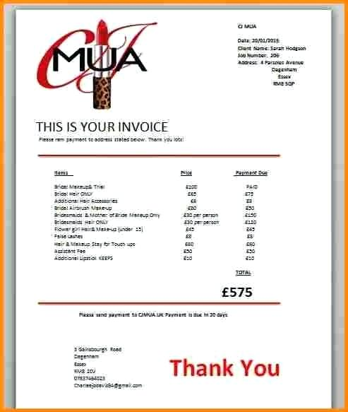 makeup artist invoice sample Acur.lunamedia.co