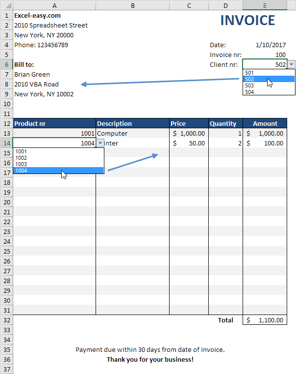 making invoice in excel