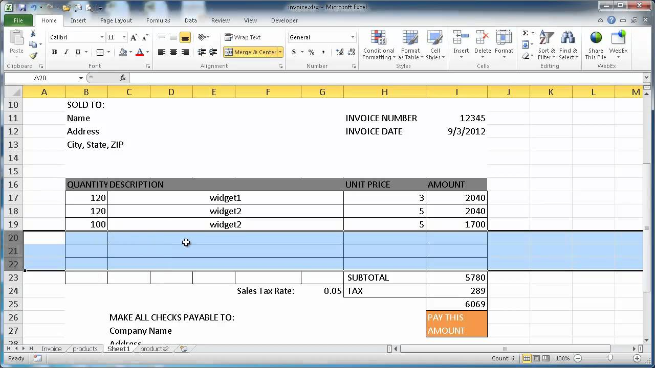 Create an Invoice in Excel 2010 YouTube