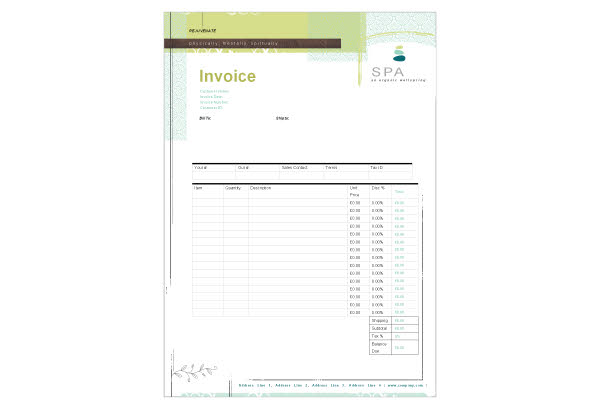 Free Massage Invoice Template