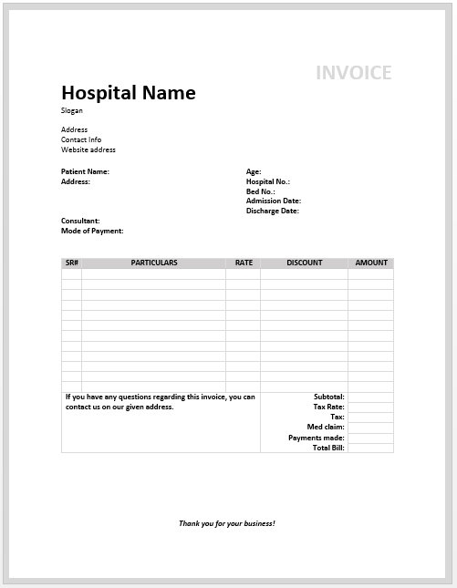 Free Medical Invoice Template | Excel | PDF | Word (.doc)