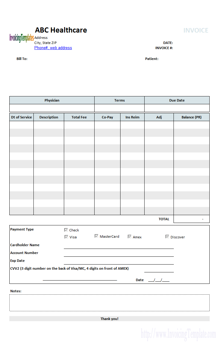 Invoice template for self pay patients Medical billing Healthcode