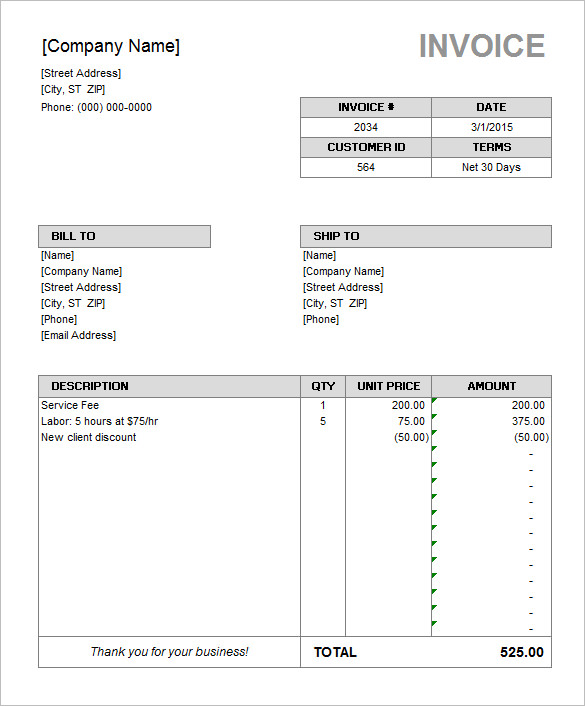 Microsoft Invoice Software Rental Invoice Template Word Ricdesign