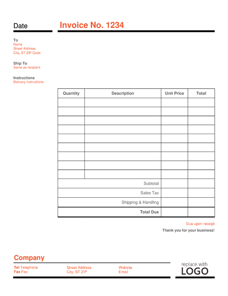 Business invoice (Red and Black)