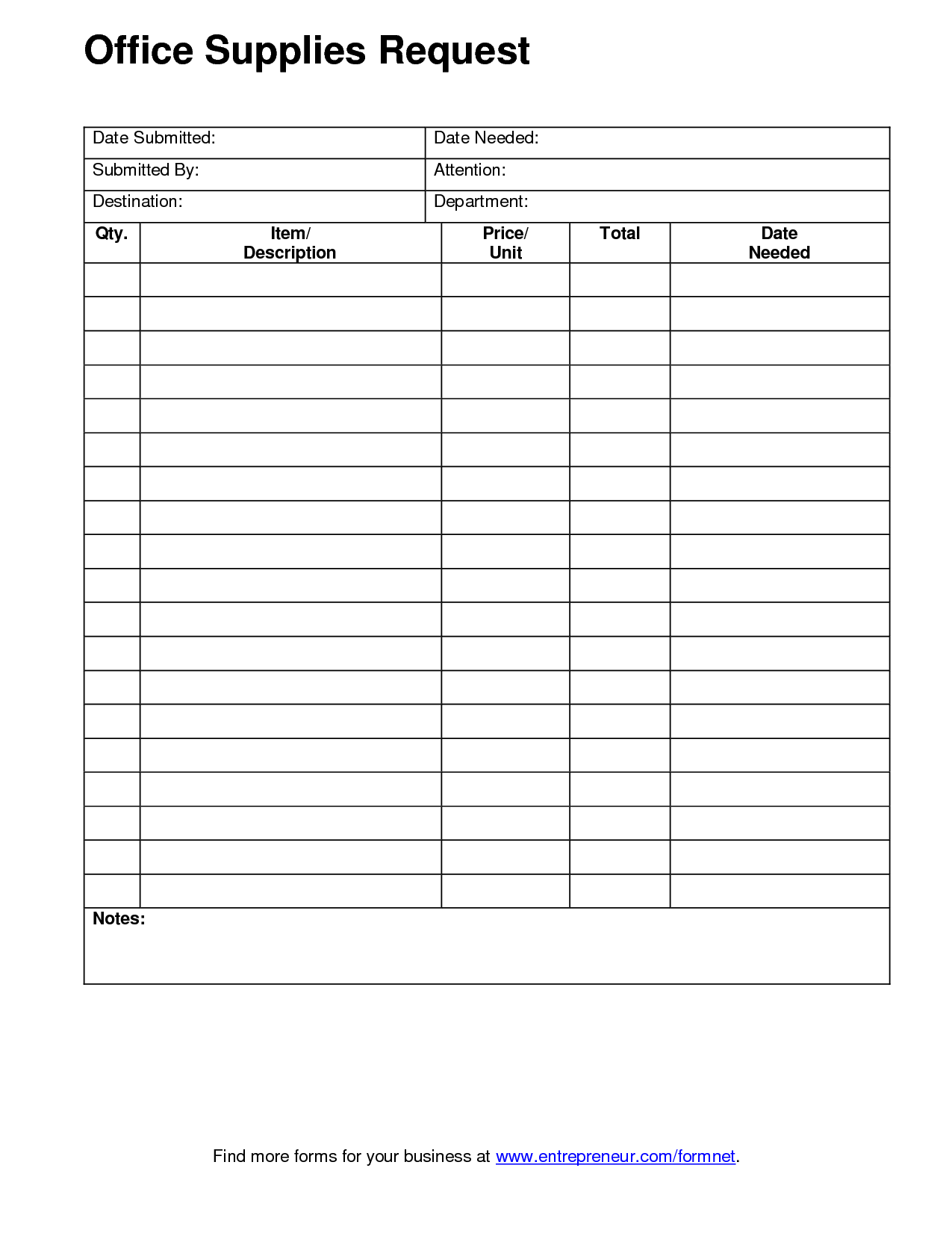 Office Supply Form Template Office Supplies Organization Google