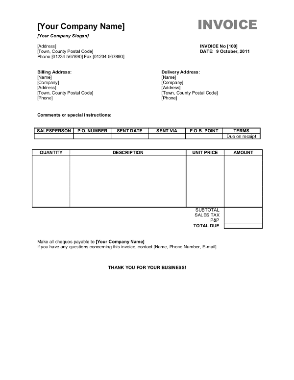 Free Invoice Templates For Word, Excel, Open Office   InvoiceBerry