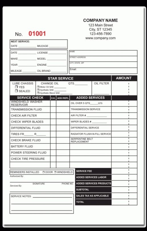 Oil Change Receipt Template Davoodi.info Template