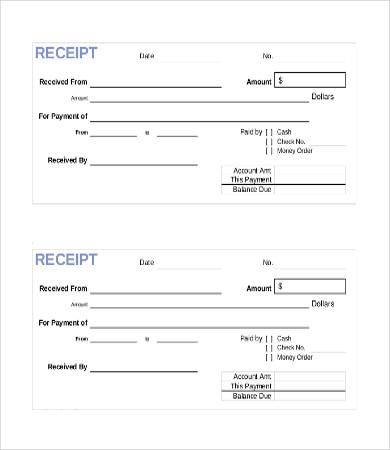 In Full Payments Receipts Templates
