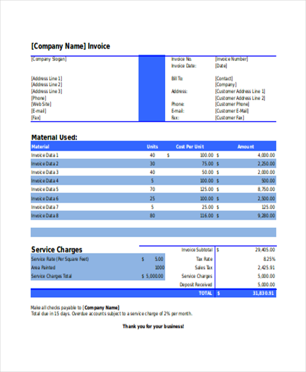 painting invoice template Ecza.solinf.co