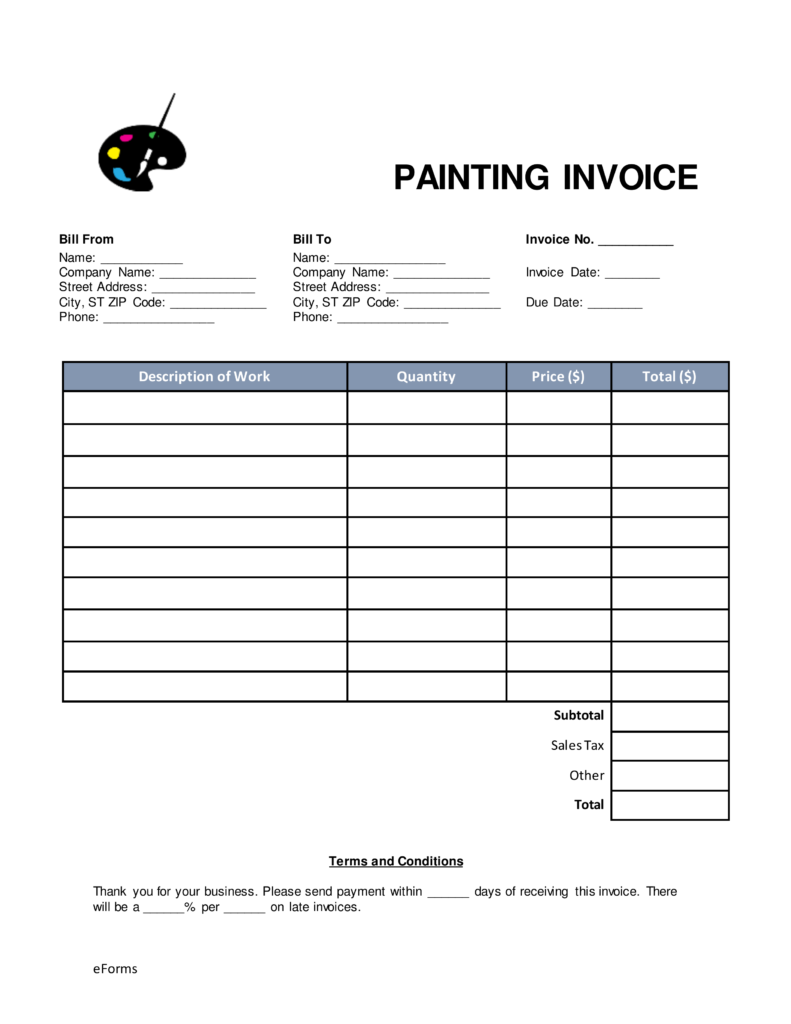 Free Painting Invoice Template Word | PDF | eForms – Free