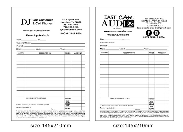 Custom print A5 50pcs two copy carbonless paper invoice book ,free
