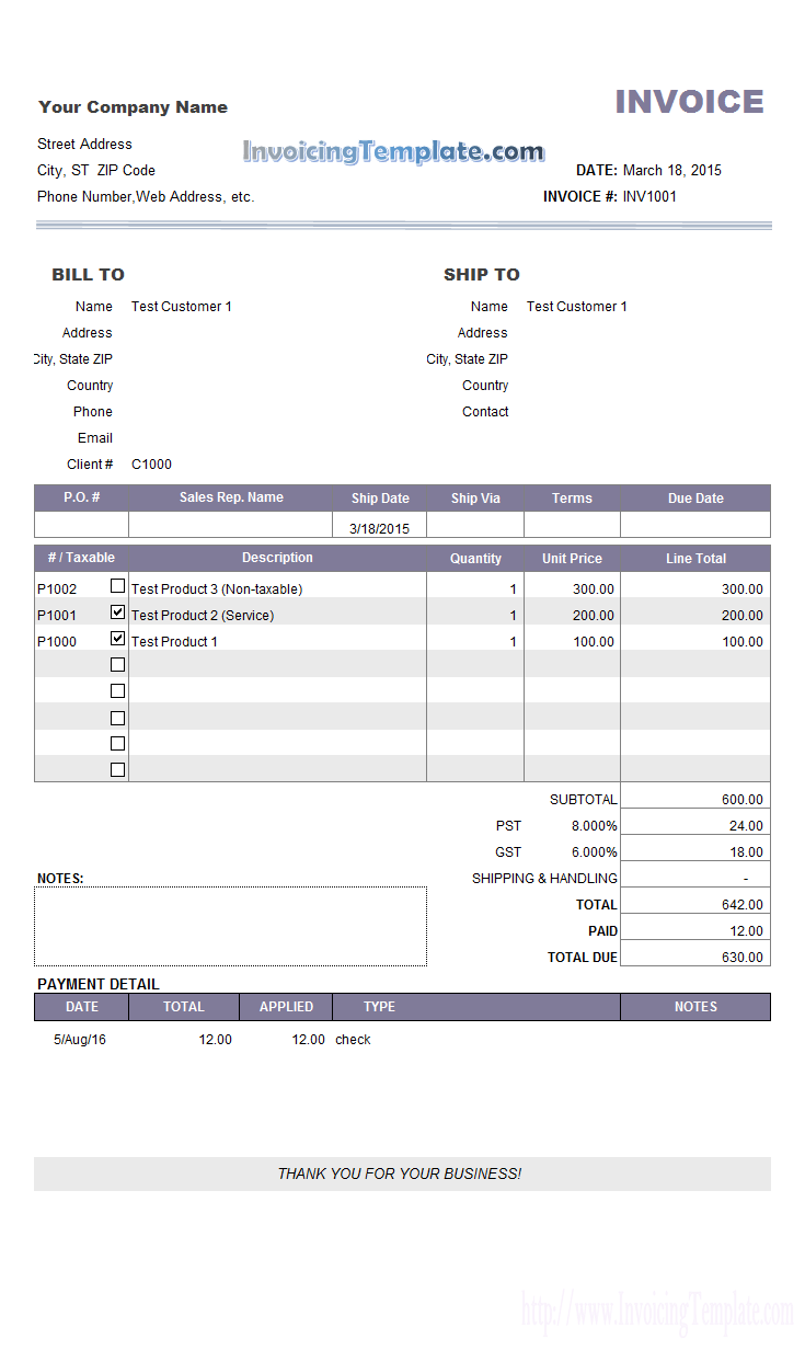 Invoice Sample with Partial Payment and Payment History