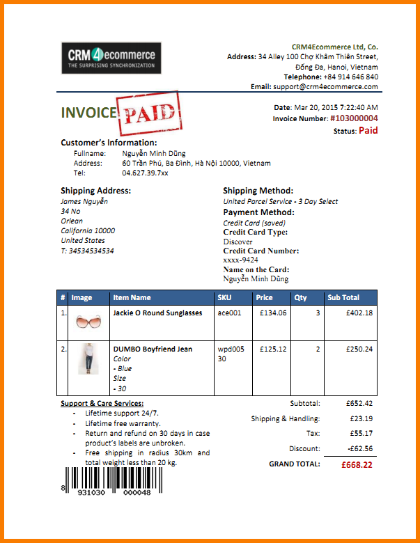 payment invoice sample