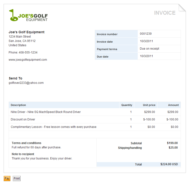 PayPal Invoice Template Printable Word, Excel Invoice Templates