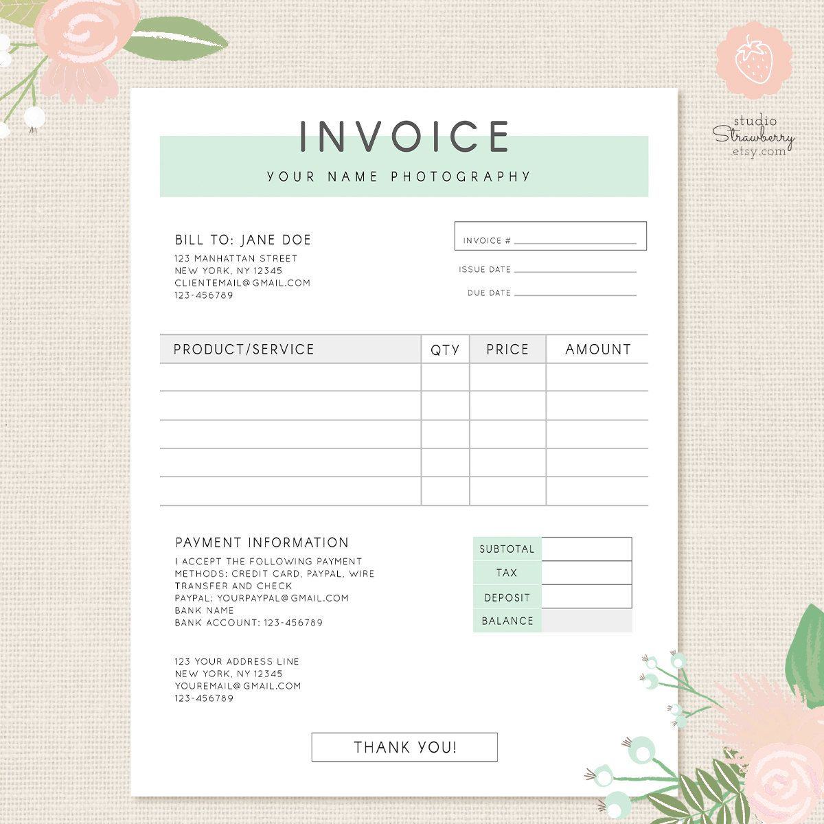 Invoice template, Photography invoice, Business invoice, Receipt
