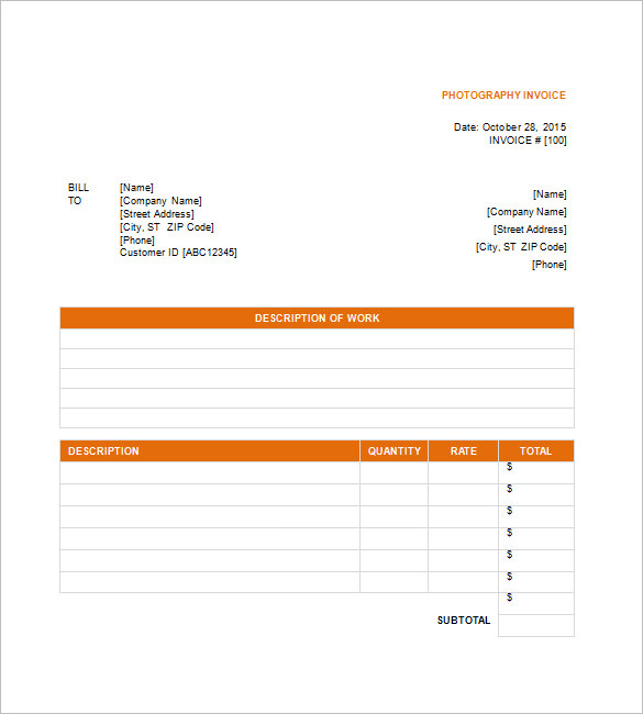 Photography Invoice Templates – 9+ Free Word, Excel, PDF Format