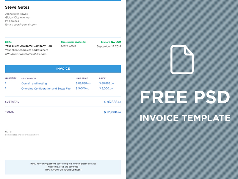 FREE PSD Invoice Template by DesignMNL Studio Dribbble