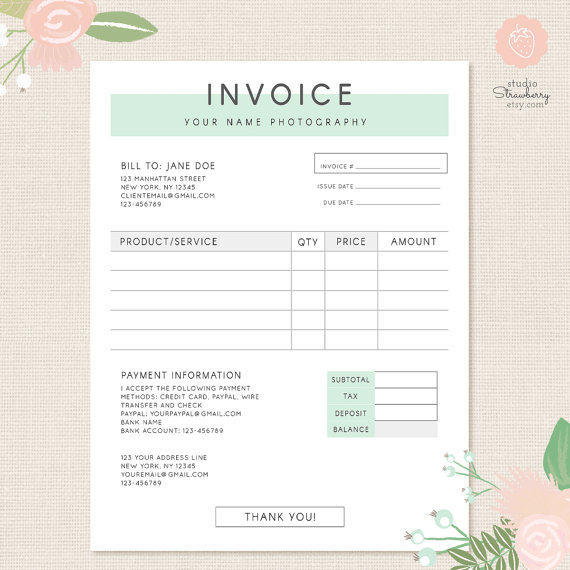Invoice template Photography invoice Business invoice