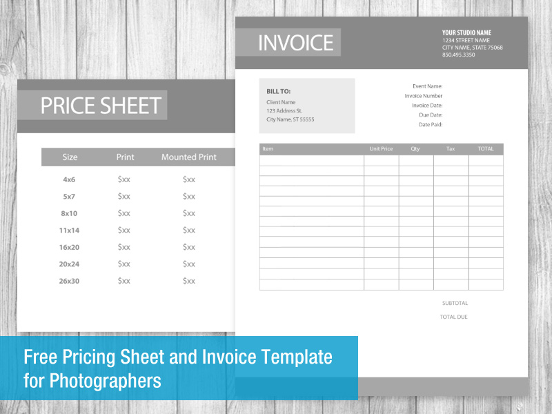 photography invoice template psd free pricing sheet and invoice