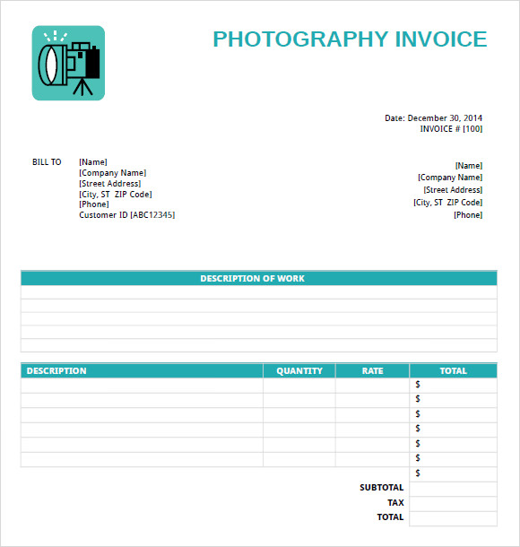 8 Photography Invoice Templates – Free Samples, Examples & Format