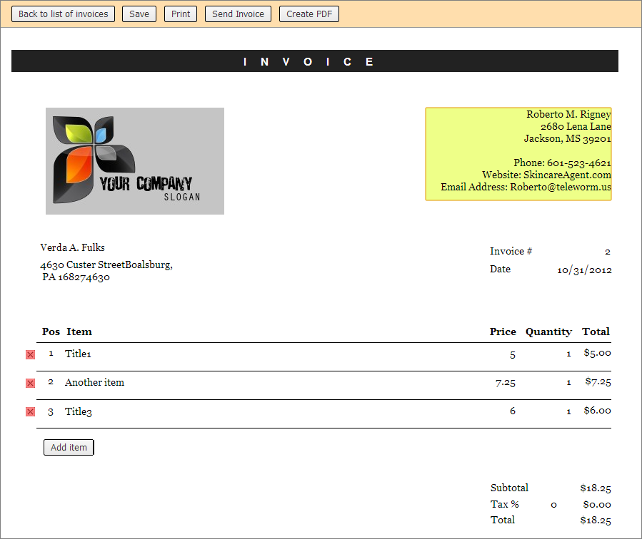 Fully customizable invoice template with PDF export