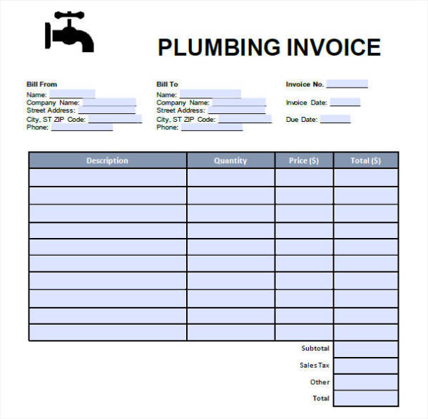 7+ Plumbing Invoice – Free Downloadable Samples, Examples, and