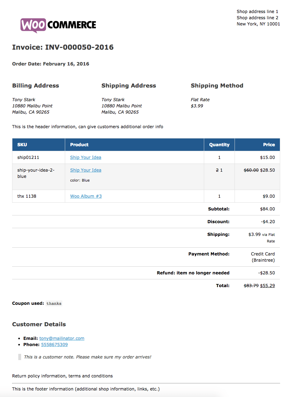 WooCommerce Print Invoices & Packing lists WooCommerce