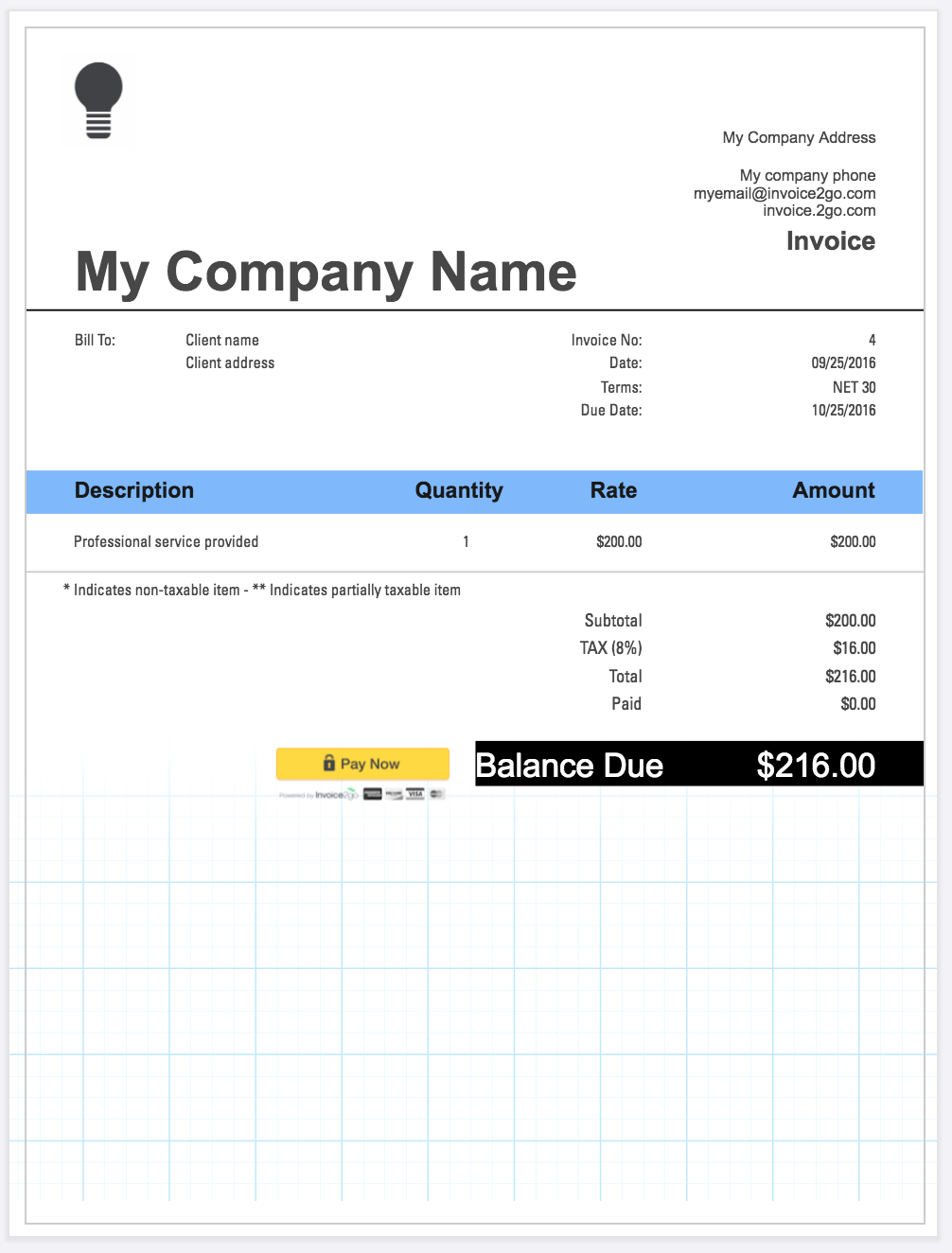 professional looking invoice