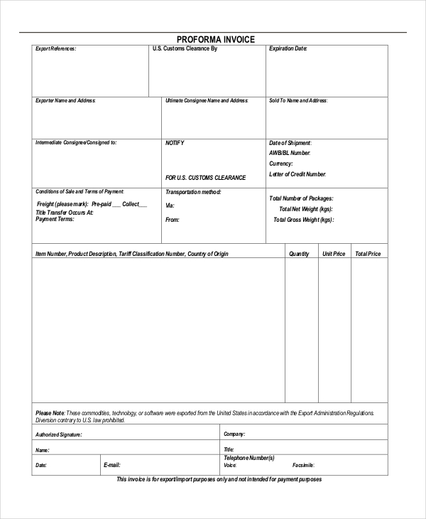 proforma invoice for customs clearance