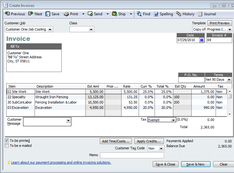 QuickBooks for Contractors Tip–Basics of Progress Invoicing