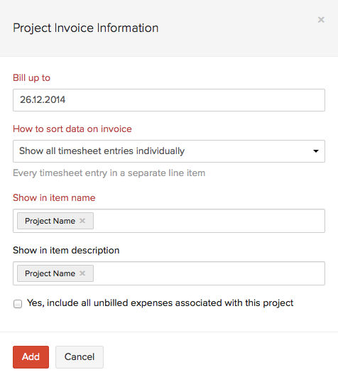 Creating Invoice from Projects | Help Document | Zoho Invoice