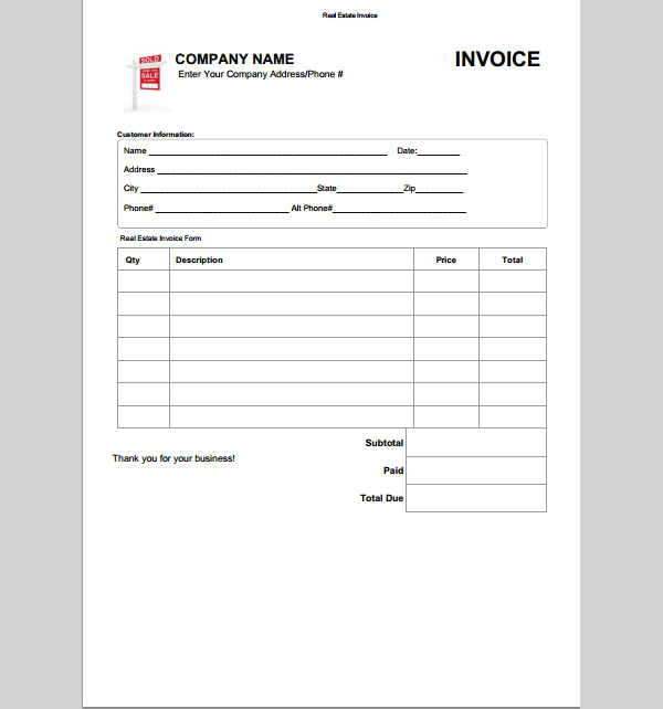 6+ Real Estate Invoice Templates Free Sample, Example Format