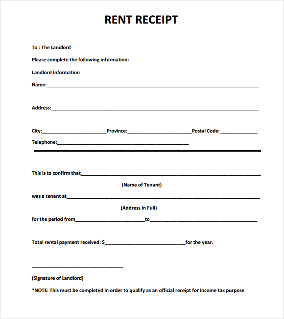 free rent receipt template printable rent receipt in pdf form free