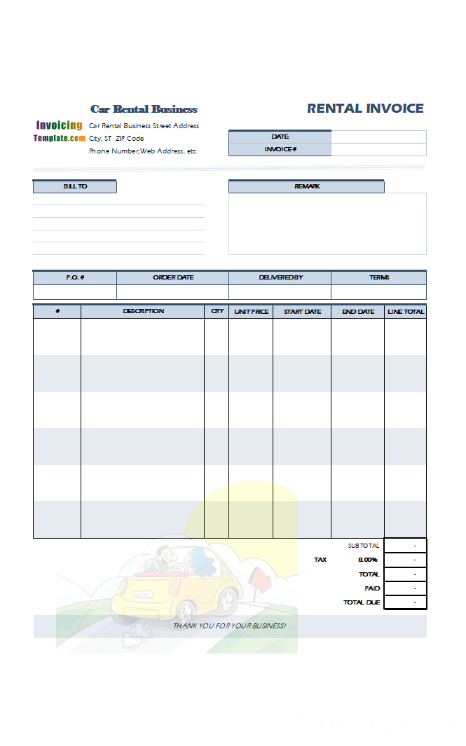 rental car receipt template Ecza.solinf.co