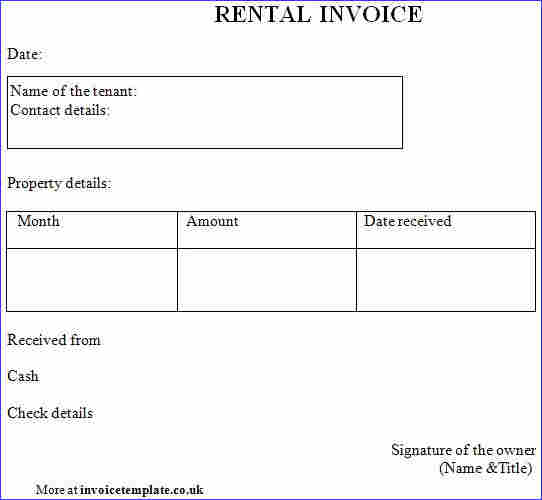 Rent Invoice Templates 8 Free Samples, Examples Format Download