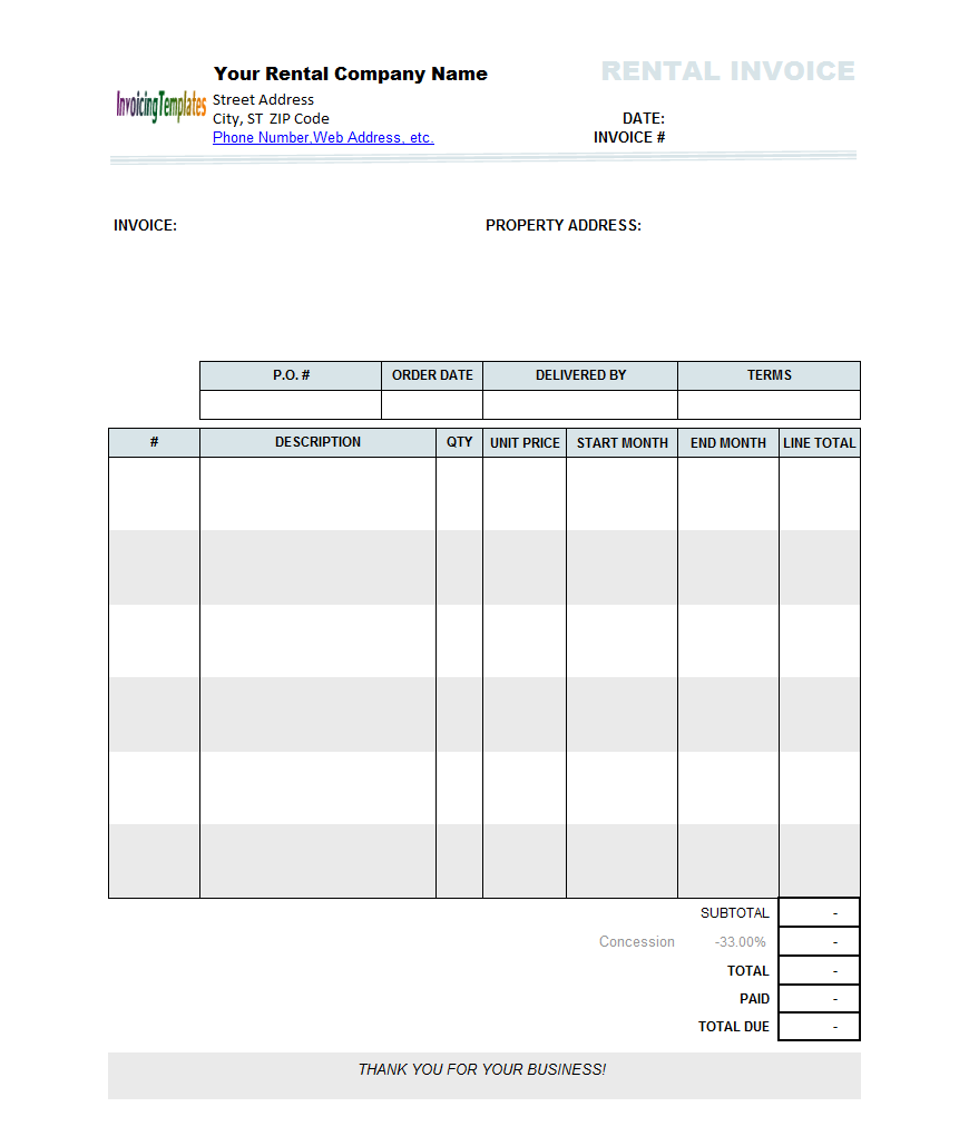 Rental Invoice Template Excel   apcc30