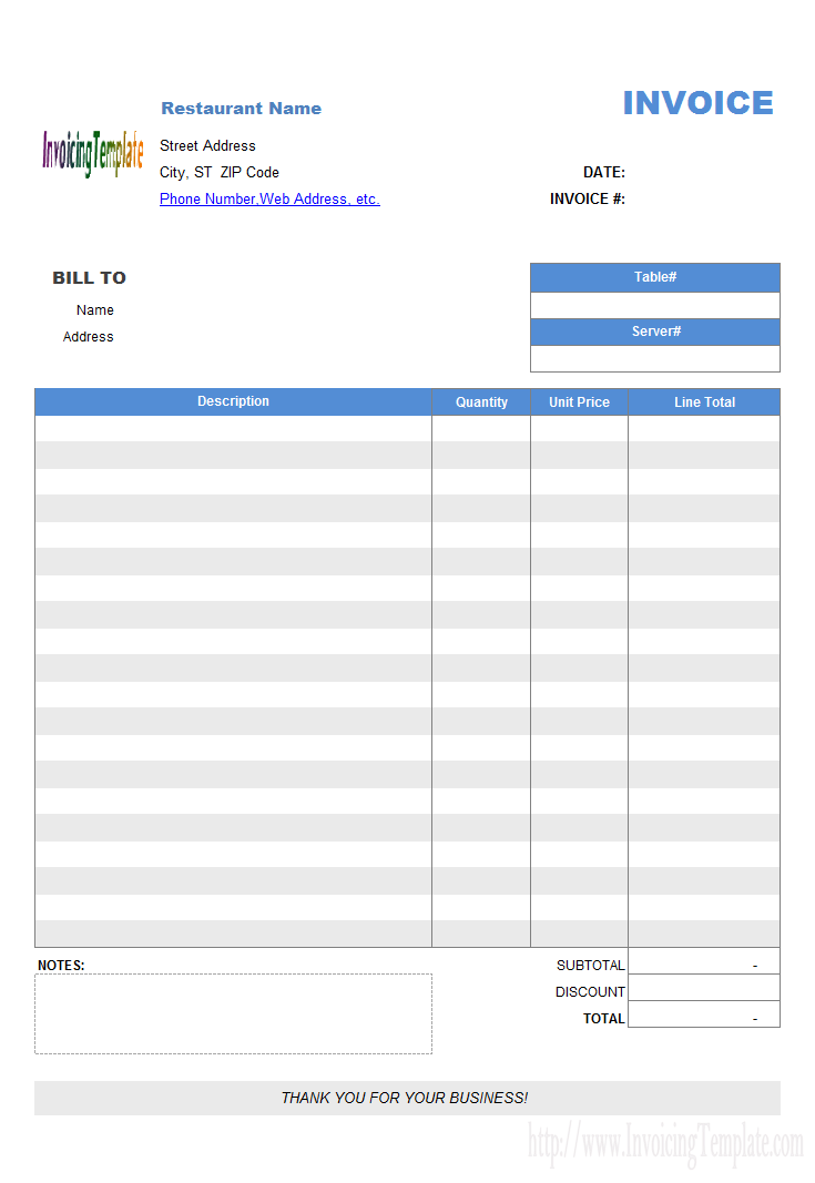 Restaurant Dining Invoice Template (No Tax)
