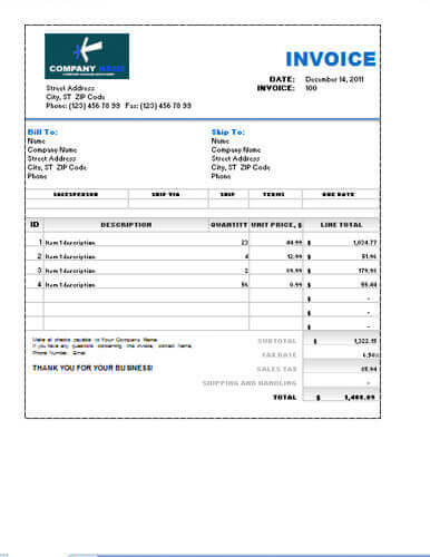 Free Sales Invoice Template | Excel | PDF | Word (.doc)