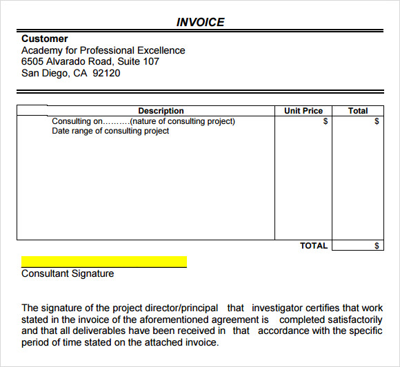 sample consultant invoice excel based consulting invoice template