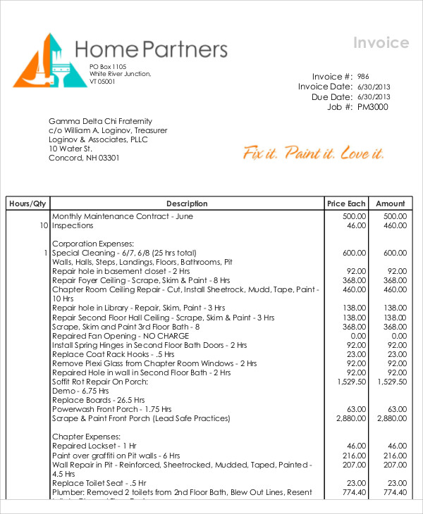 Invoice For Painting Painting Contractor Invoice Template Invoice