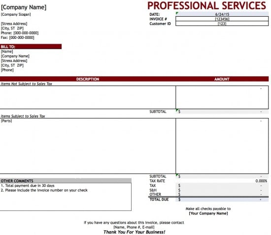 Invoice Professional Free Professional Services Invoice Template