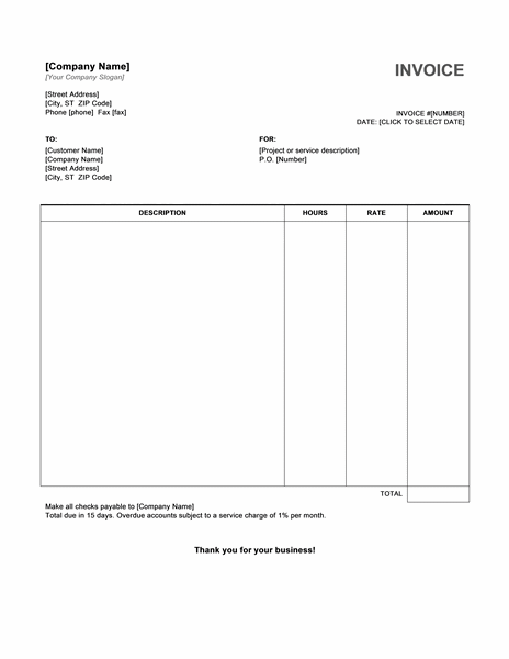 sample invoice word document hourly service invoice